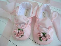 Pink Ballet Shoes Baby Girl Shoes Toddler Ballet by BobkaBaby, $45.00