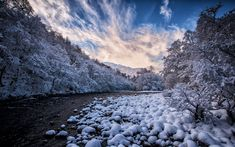 Download wallpapers mountain river, winter, snow, evening, sunset, Canada