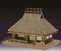 Wooden Model Kits, Building Art, Model Building, Japanese Buildings, Asian House, Thatched House, Bedroom Furniture Design, Japanese House, Best Interior