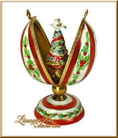 Holiday Egg on Stand with Christmas Tree Limoges Box www.LimogesBoxCollector.com