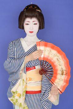 The geisha Toshikana of Miyagawa-cho in a blue and white striped kimono