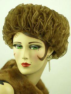 Golden sisal toque hat (Front), Switzerland, 1960s