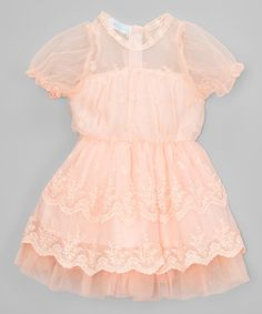 Look what I found on #zulily! Light Pink Lace Puff Sleeve Bubble Dress - Toddler & Girls #zulilyfinds