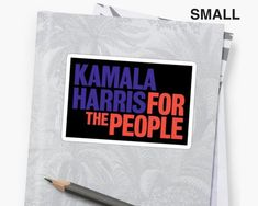 """Kamala Harris This Kamala Harris sticker is the perfect way to show your pride for the California senator in her 2020 campaign for president! These red white and blue stickers say Harris's campaign slogan – """"Kamala Harris For The People"""". Campaign Slogans, Campaign Logo, Primary Election, Presidential Election, Kamala Harris, Laptop Decal, Graphic Prints, Wave, Pride"""