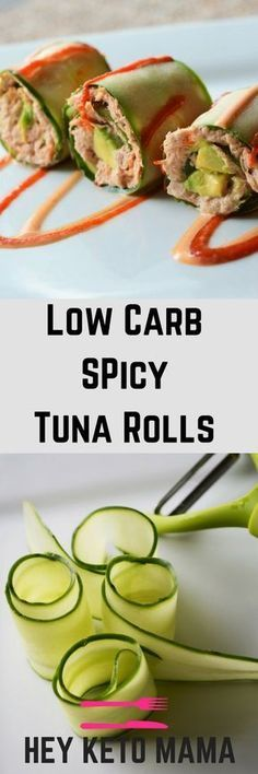 These 5 Minute Low Carb Spicy Tuna Rolls are deliciously fresh and come with just the right amount of kick!   heyketomama.com
