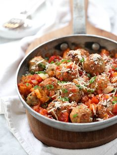 Chicken meatballs in a spicy tomato and apricot sauce