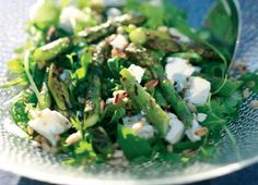 Barbecued Asparagus, Rocket, Goat's Cheese and Pine Nut Salad.