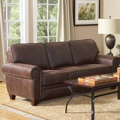 Hearts Attic Dark Brown Faux Leather Upholstered Sofa ($946) ❤ liked on Polyvore featuring home, furniture, sofas, faux sofa, lightweight furniture, colored furniture, chocolate brown sofa and dark brown sofa
