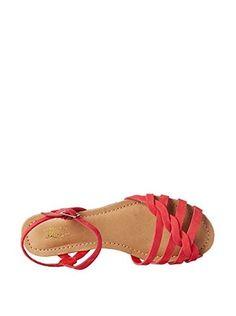 Bass Women's Clementine Braided Strap Flat Sandal (Cardinal Red)