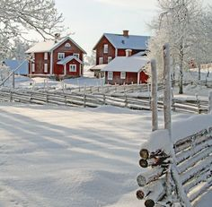 Red farm house in snow / Winter wonderland Winter Szenen, Winter Love, Winter Magic, Winter Christmas, Winter White, Hirsch Illustration, Red Houses, Haus Am See, Snowy Day