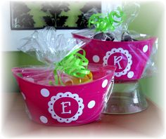 Bitty Buckets personalized with single initial - vinyl gift idea