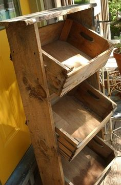 Crates – These wooden storage makes a good storage for onions, potatoes and garlic and fruits