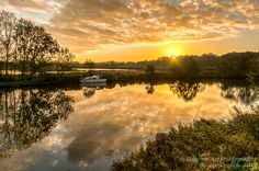 """This sunrise reflection photo taken next to the Yare river near Whitlingham in Norfolk was awarded """"highly commended"""" in the Societies October 2013 competition in the Landscapes section"""