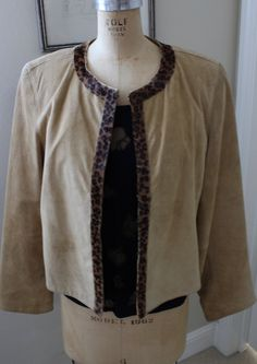 Crop Suede Light Tan Jacket with Cheetah Trim Size Large by Za Zee by newgenerationvintage on Etsy
