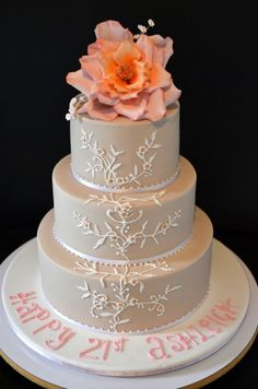 'Pink Latte' 21st Birthday Cake by Sweet Ruby Cakes