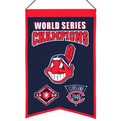 MLB Baseball Cleveland Indians 14x22 Heavy Wool with Embroidery Sport Team Logo World Series Champions Banner #2008 -- Awesome products selected by Anna Churchill