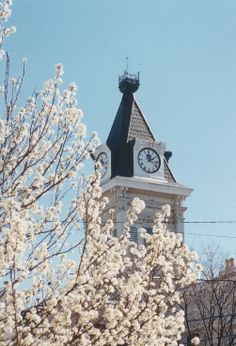 Historic courthouse clock tower in Columbia, KY