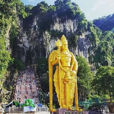 "Batu Caves, Malaysia  @flavialoretano ""Standing at 42,7 m, the world's tallest statue of Murugan, a Hindu deity, is located outside Batu Caves"" - Contribute on Facebook.com/backpackerstory for a FEATURE"