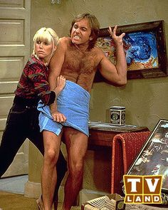 "Three's Company - Chrissy and Jack. The show received a lot of flack as ""jiggle… Abc Tv Shows, Tv Shows Funny, Celebrity Gossip, Celebrity News, Beatles, John Ritter, Suzanne Somers, Comedy, Three's Company"