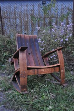 Recycle wine barrel rocking chair
