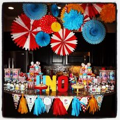Pinwheels circus, carnival sweets table birthday party, DIY tissue garland streamers.
