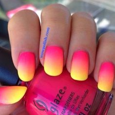 Pink & Yellow Ombre Manicure |motivational trends