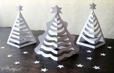 Make your own Paper Christmas Trees with a few cuts. Turn a Tree into a Paper Christmas Tree. Origami Christmas Tree, Paper Christmas Decorations, Christmas Paper Crafts, Noel Christmas, Christmas Projects, Simple Christmas, Holiday Crafts, Christmas Ornaments, Christmas Crafts For Kids To Make At School