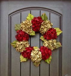 Hydrangea Wreath Fall Wreath Christmas Holiday Grapevine Door Wreath Red Green Hydrangea Floral Door Decoration Indoor Outdoor by AnExtraordinaryGift on Etsy