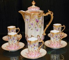 Chocolate set, Limoges porcelain