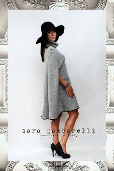 CARDIFF cape. Cozy women cape for winter grey by saragambarelli - etsy shop