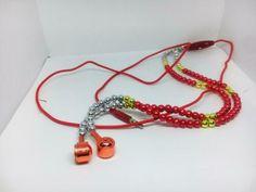 Red Girl Rhinestone Jewelry Pearl Necklace Earphones Mic Beads 40cm Headset | eBay
