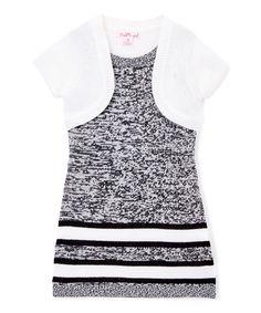 Loving this Black & White Twist Stripe Layered Dress - Infant, Kids & Tween on #zulily! #zulilyfinds