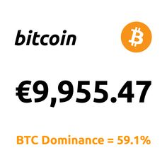 """Today's Bitcoin Price  Top News: """"... Digital Dollar To Be 'In Competition' With Bitcoin ...""""  1 Bitcoin = €9,955.47 BTC Dominance = 59.1%  #Bitcoin #BTC Buy Bitcoin, Bitcoin Price, Make Money Online, How To Make Money, Price Chart, New Class, Visa Card, Marketing Data, Motivation"""