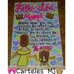 Publicación de Instagram de 🎀Carteles  Mj🎨 • 15 May, 2017 a las 5:50 UTC Mom Birthday, Birthday Gifts, Gifts For Mom, Diy Gifts, Family Crafts, Ideas Para Fiestas, Diy Blog, Love Messages, Illustrations And Posters