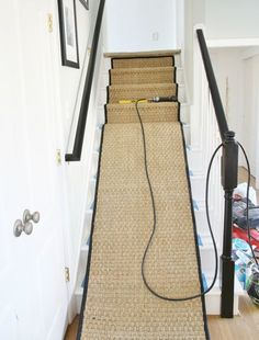 White Painted Staircase Makeover with Seagrass Stair Runner Tutorial