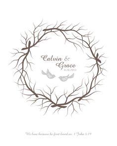 Wedding Thumbprint Wreath Guest Book Alternative by TJLovePrints