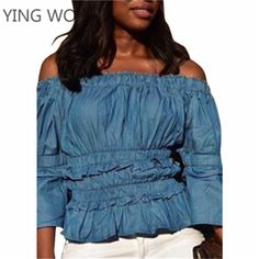 4bd73151e0b Aliexpress.com   Buy New Autumn Fashion Woman Sexy Off Shoulder Slash Neck  Long Sleeve Pleated Ruffles Details Wash Denim Crop Tops Plus Size M XXL  from ...