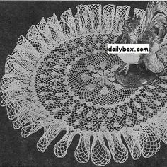 Free crochet ruffled centerpiece doily pattern at doilybox.com
