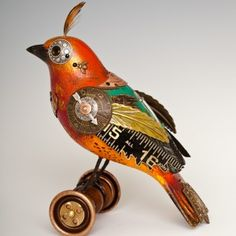 Colorful Bird on Wheels from Mullanium by Jim and Tori. Found and recycled objects.