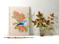 Cute Blue Bird on a Wild Red Roses Branch by FabulousCatPapers