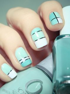 nails Essie nail polish in Pretty Edgy nails geometric mint nails Fancy Nails, Love Nails, How To Do Nails, Pretty Nails, Style Nails, Classy Nails, Do It Yourself Nails, Mint Nails, White Nails
