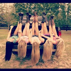 Love it! Truck bed photo with boots, shorts and long hair - perfect for us Betts girls or me and my best friends. :)