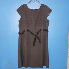 Slip on Dress  ready for work. Easy to maintain Gray, Plaid dress studio i Dresses Midi
