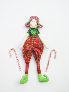 #Elf doll Cloth doll #Christmasdoll softie plush #elfdoll stuffed doll by #HappyDollsByLesya