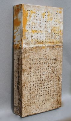 Gwendolyn Plunkett : Collections and Rituals Gallery : Slow Burn, Encaustic/Burned Handmade paper/Oil Bar on panel 16 x 8 x 2 inches