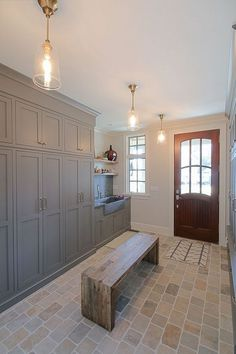 Mudroom laundry room Beautiful Laundry Room Tile Pattern Design Ideas - lmolnar Outdoor Trash Ca Brick Tile Floor, Best Floor Tiles, Brick Flooring, Brick Floor Kitchen, Tiled Floors, Boot Room Utility, Utility Sink, Utility Room Ideas, Utility Room Sinks