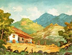 Fausto Pacheco, Paisaje Nº 50 Teddy Boys, Camille Pissarro, Central America, Art Boards, Costa Rica, Houses, Watercolor, Drawings, Illustration