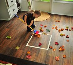 fall toddler activity raking leaves, can be changed into alot of other games - montessori Gross Motor Activities, Toddler Learning Activities, Montessori Activities, Autumn Activities, Indoor Activities, Infant Activities, Kids Learning, Nature Activities, Learning Games