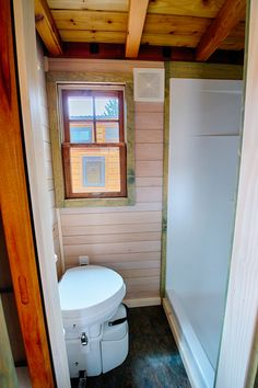 example of a large shower in a tiny home instead of the galvanized tub norm. Not sure which I prefer but this one is easier access