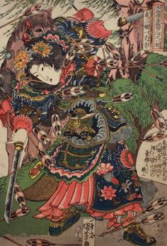Kosanryô Ichijôsei, a sword in either hand, cuts flying arrows, her horse behind her; she was the daughter of the general Kotaikô
